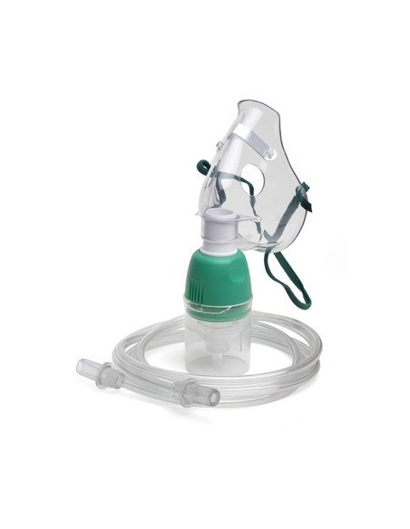Mascarilla de oxigeno para nebulizacion. Pediatrica.