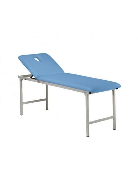 Camilla fija metálica con patas plegables.Color azul.Todo tipo de tratamientos.