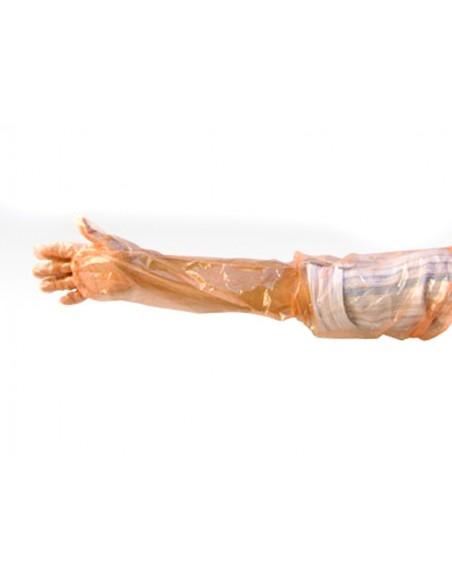 Guante para veterinario de plástico desechable largo