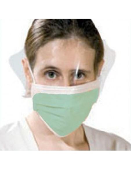 Mascarilla quirúrgica con visor. Sujeción con gomas.