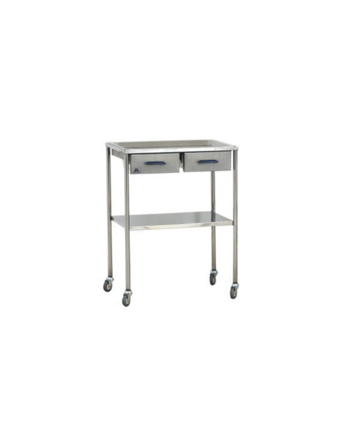 Mesa auxiliar para instrumental con dos cajones iberomed - Mesa auxiliar con cajones ...