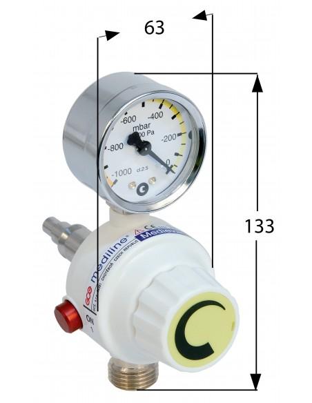 Regulador de aspiración para toma de pared AFNOR de 1000 mbar (750 mmHg) 1