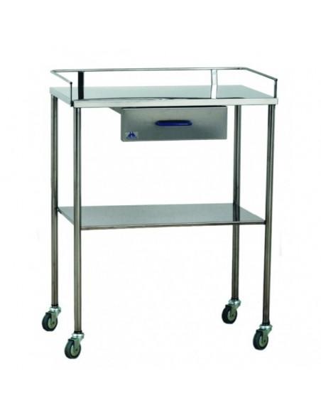 Mesa auxiliar para instrumental con un cajón y barandilla 1