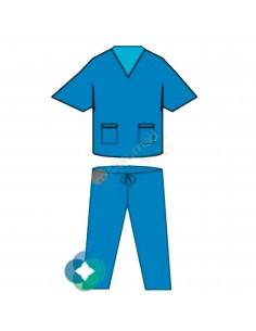 Pijama completo color AZUL SMS Iberomed.