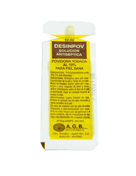 10 Monodosis de Povidona yodada. 10 ml Desinpov. 1