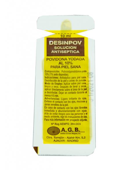 10 Monodosis de Povidona yodada. 10 ml Desinpov. 2