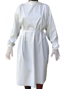 Bata reutilizable-20 lavados en no tejido laminado. Color blanco.1 Ud